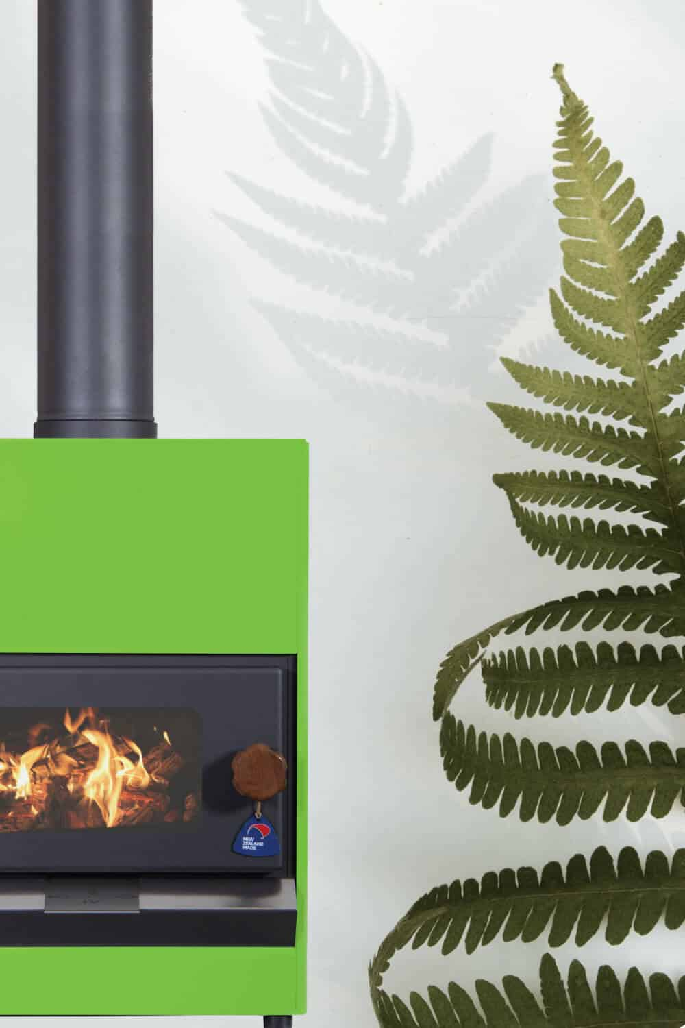 Pyroclassic in Telecom Green colour with fern next to it