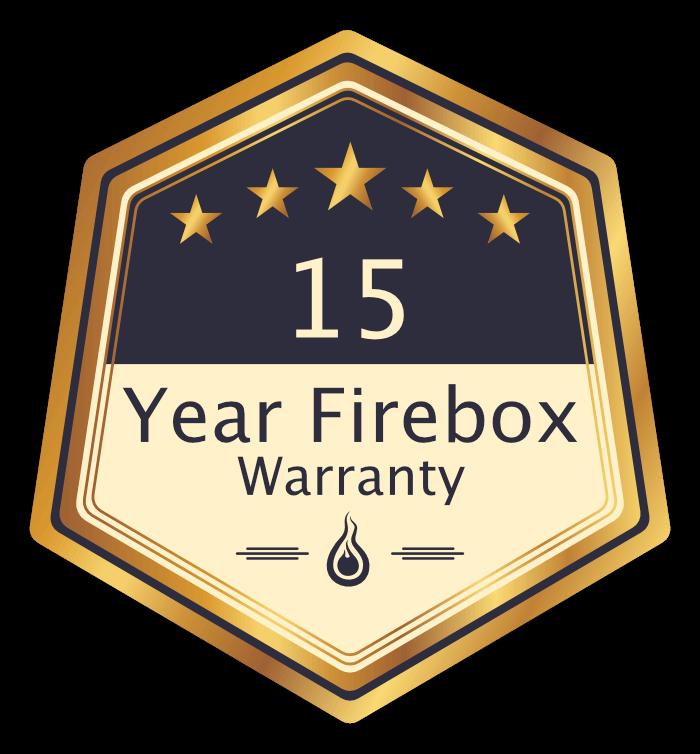 """Badge - """"15 Year Firebox Warranty"""""""